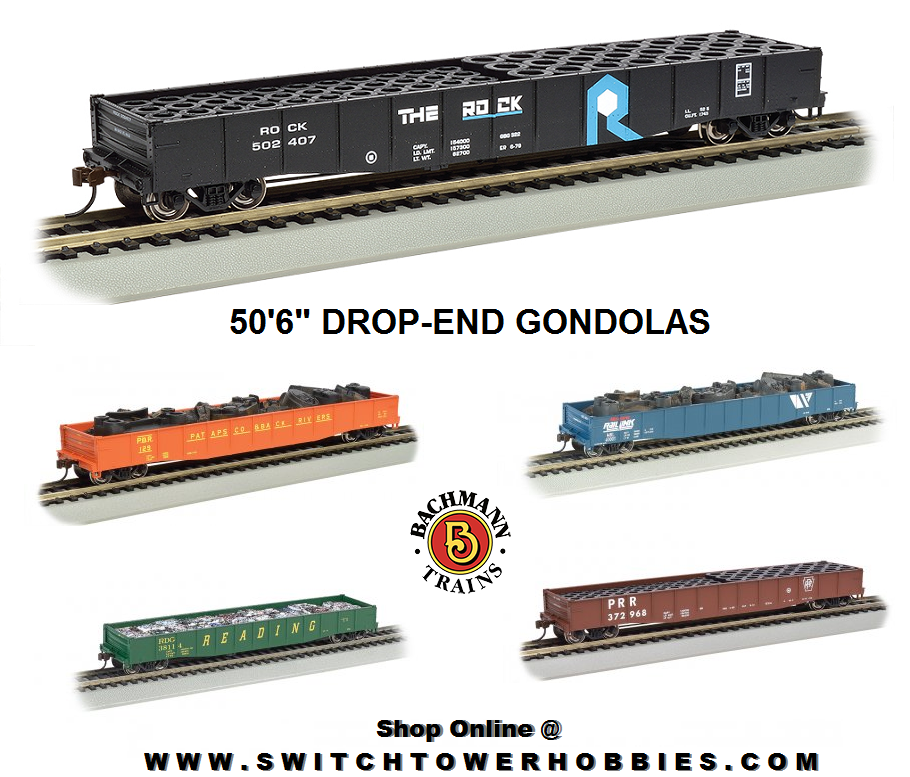 Bachmann Industries HO Scale Nickel Plate Road 50 6 Drop-End Gondola with Load Tire Load